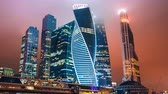 corporation : Zoom out Timelapse hyperlapse of Moscow city international business district at night