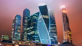 corporation : Timelapse and hyperlapse of Moscow city international business district at night