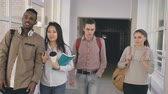 spacious : Four groupmates of different ethnicity are walking in long spacious wide glassy corridor in university smiling and laughing and talking to each other Stock Footage