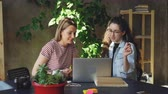 collaborating : Young female colleagues are enthusiastic about new project. They are talking emotionally, working with computer and sharing ideas then checking them on laptop. Stock Footage