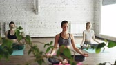 spirit : Young female yoga students are meditating in lotus position in the end of practice in beautiful light studio. Relaxation tranquility balance concept.