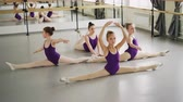 klassik : Young diligent ballet students are doing leg splits and bends during classical ballet class. Flexible girls are wearing beautiful bodysuits and pointe-shoes.
