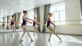 cronometragem : Graceful little ballet dancers in beautiful leotards are exercising practising movements in light studio. Pretty girls are moving simultaneously together. Stock Footage