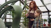 curiosidade : Experienced female gardener and her cute daughter are looking at plants in greenhouse and talking, caring mother is teaching her curious daughter.