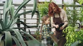 zahradník : Charming female garderner and her little daughter are using tablet while working in greenhouse together. Modern technology, happy family and gardening concept. Dostupné videozáznamy
