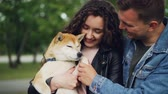 женат : Slow motion of happy couple holding beautiful pedigree dog, looking at it and shaking its paw then touching its nose. Loving owners, glad animals and nature concept. Стоковые видеозаписи