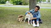 tur : Young African American woman is caressing adorable puppy resting in the park on green lawn and talking to pet with kindness and adoration. People and animals concept.