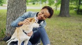 lovable : Slow motion of loving dog owner attractive girl stroking adorable shiba inu puppy fussing its fur and looking at it with adoration resting in park in summer. Stock Footage