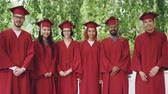 campus : Portrait of multiethnic group of graduating students standing outdoors wearing red gowns and mortar-boards, smiling and looking at camera. Stock Footage