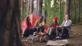 bois de chauffage : Happy girls and guys friends are talking, gesturing and laughing resting around fire getting warm at campsite. Conversation, nature and people concept. Vidéos Libres De Droits