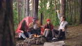 lenha : Multiracial group of young people friends is having fun around campfire talking, gesturing and laughing enjoying warmth, good company and beautiful nature.