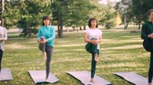 instrukce : Female yoga students are doing balancing exercise standing on one leg on mats in park, girls are training under guidance of professional instructor.