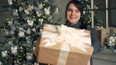 felicitando : Portrait of beautiful brunette giving present on Christmas day standing indoors at home with decorated New Year tree and mantel in background. Gifts and people concept.