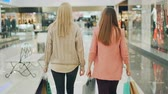 Rear shot of slender young women walking in shopping mall holding paper bags and looking around at goods. Happy customers, shiny shop windows are visible.