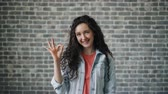 schválení : Portrait of glad young lady showing OK hand gesture smiling looking at camera standing against brick wall background. Millennials and evaluation concept.