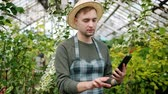 vestuário : Slow motion of young male farmer using tablet in hothouse counting plants looking around and touching gadget screen. Modern devices and farmland concept.