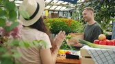 купить : Customers multiethnic group buying fresh organic food in greenhouse sale talking to shop assistant choosing vegetables. People and shopping concept.