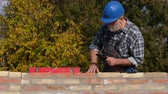house builder : Worker or engineer controlling brick wall using level tool and tablet