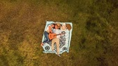 aerial view couple enjoying music with guitar lying down on the grass