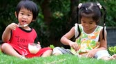 Asian boy and girl are eating delicious yoghurt at the park. Стоковые видеозаписи