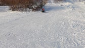 tobogganing : Little girl and her father slide on snowtube from a hill at winter sunny day