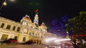 yoksulluk : Night Traffic in front of the City Hall in Ho Chi Minh City Saigon