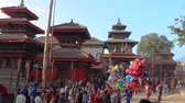 red square : Time lapse video of People walking around Kathmandu Durbar Square on the morning of Indra Jatra Festival
