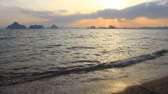 Sunset at seaside beach in Krabi,Thailand. Abstract nature background Stock Footage