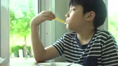 sapo : little Asian boy eating steak with vegetable Salad at restaurant with smile face