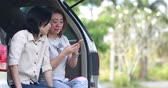 Happy asian woman use smart phone in car at the garden .
