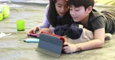 поход : Happy asian boy and girl playing smart phone and tablet in camping area Стоковые видеозаписи
