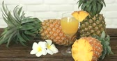 nutricional : Pineapple with Juice on wood table background .