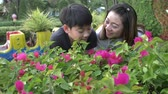 horta : Happy asian family mother and son looking at pink flower in park. Recorded hand-held in slow motion at 4K . Stock Footage