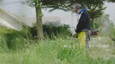 quintal : Close up of man using a lawn mower at the front yard. The gardener cutting grass by lawn mower. 60FPS Vídeos