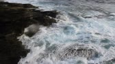 слои : Panoramic tracking the waves until the waves hit the coast of Galicia Cantabrian Sea. Northern Spain