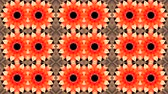 arabesco : Mosaic Fractal Kaleidoscopic - Fractal geometric mosaic with palpitation of colored lights flashing red and orange background Vídeos