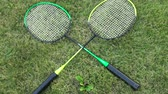 Badminton rackets on green summer grass. male and female hand takes the racket Стоковые видеозаписи