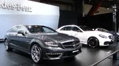 shooting brake : Gray Mercedes Benz CLS AMG Shooting Brake station wagon and white E-class E63 AMG sedan on display at the 2014 Brussels motor show.  Stock Footage