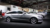 shooting brake :  Gray Mercedes Benz CLS hooting Brake station wagon on display at the 2014 Brussels motor show.