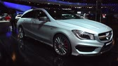 shooting brake : Gray Mercedes CLA 45 AMG Shooting Brake compact estate car on display at the 2015 Brussels Motor Show.