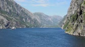 windy : Ferry in the Lysefjord Fjord in Norway during summer Stock Footage