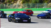 corner : SPA, BELGIUM - SEPTEMBER 27, 2015: Lamborghini Huracan  LP 610-4 coupe sports car. driving on the track during the 2015 Spa Italia event at the Spa Francorchamps race track.