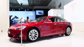 tesla motors : BRUSSELS, BELGIUM - JANUARY 13: Tesla Model S 75D all-electric, luxury, liftback car during the 2017 European Motor Show Brussels.