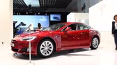tesla motors : Tesla Model S 75D all electric, luxury, liftback car during the 2017 European Motor Show Brussels. Stock Footage