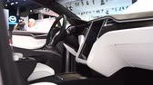 tesla motors : Tesla Model X all electric, luxury, crossover SUV car interior on display during the 2017 European Motor Show Brussels.