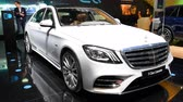 limousine : Mercedes-Benz S 560 E Plug-in Hybrid Limousine luxury saloon on display during the 2018 Brussels Motor Show.