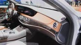 limousine : Mercedes-Benz S 560 E Plug-in Hybrid Limousine luxury saloon interior on display during the 2018 Brussels Motor Show. Stock Footage