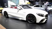só : Mercedes-AMG S65 Cabriolet luxury convertible car on display at the 2018 European Motor Show Brussels.