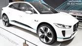 jaguar : Jaguar I-PACE battery-electric SUV concept car developed by British automotive company Jaguar Land Rover on display at the 2018 European motor show in Brussels. Stock Footage