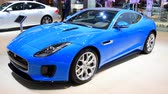 jaguar : Jaguar F-Type R? Dynamic Supercharged Coupe sports car front view on display at the 2018 European motor show in Brussels.